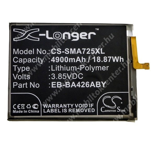 CAMERON SINO akku 4900 mAh LI-Polymer - belső akku, beépítése szakértelmet igényel, EB-BA426ABY kompatibilis - SAMSUNG Galaxy A42 5G (SM-A426B/DS) - CS-SMA725XL - GYÁRI