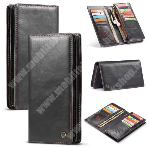 """HomTom C2 CASEME UNIVERZÁLIS pénztárca tok - PU bőr, oldalra nyíló, cipzáras zsebbel és telefontartóval, bankkártya tartó zsebek, max. 6.5""""-os készülékekhez - FEKETE"""