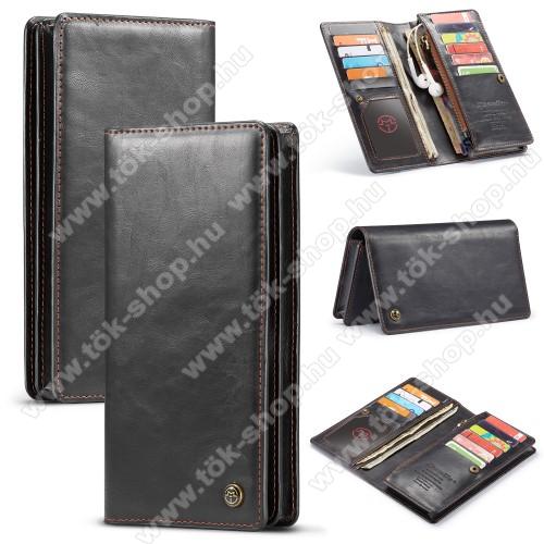 CASEME UNIVERZÁLIS pénztárca tok - PU bőr, oldalra nyíló, cipzáras zsebbel és telefontartóval, bankkártya tartó zsebek, max. 6.5
