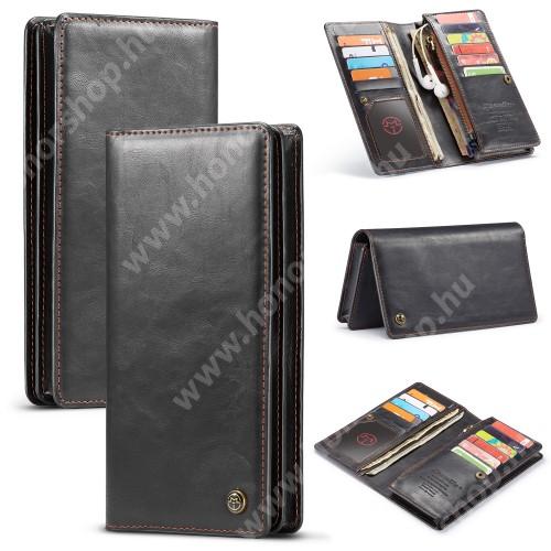"""CASEME UNIVERZÁLIS pénztárca tok - PU bőr, oldalra nyíló, cipzáras zsebbel és telefontartóval, bankkártya tartó zsebek, max. 6.5""""-os készülékekhez - FEKETE"""