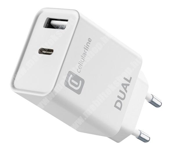 PRESTIGIO MultiPad 8.0 PRO DUO CELLULARLINE hálózati töltő 1 x USB (5V/3A, 15 W), 1 x Type-C (5V/3A, 15 W) aljzattal - adaptive gyorstöltés - FEHÉR - ACHIPHUSB2PD20WW - GYÁRI