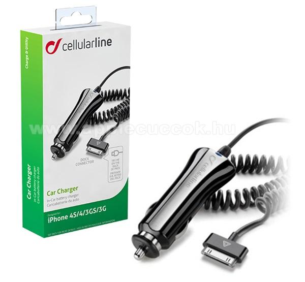 CELLULARLINE szivargyújtó töltő / autós töltő - 5V / 700mA + beépített 30pin kábel, spirál, MA591G kompatibilis - FEKETE - CBRIPHONE1 - GYÁRI