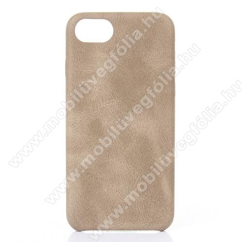 CRAZY műanyag védő tok / bőr hátlap - BÉZS - APPLE iPhone SE (2020) / APPLE iPhone 7 / APPLE iPhone 8