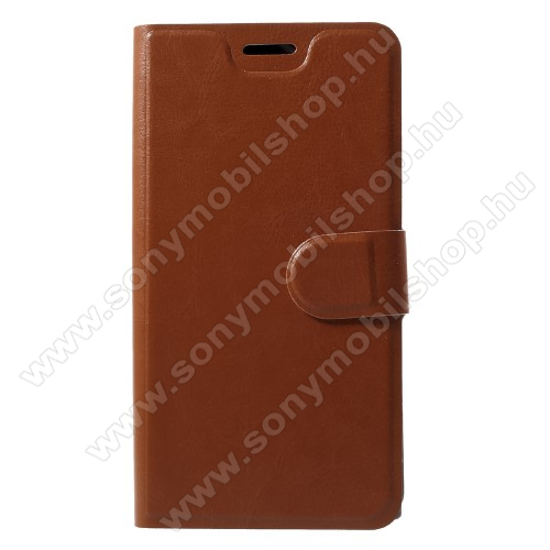 CRAZY notesz / mappa tok - BARNA - oldalra nyíló, rejtett mágneses záródás, belső zseb, asztali tartó funkció, szilikon belső, Fedlapba épített acéllemezzel, ERŐS VÉDELEM! - Sony Xperia XZ1