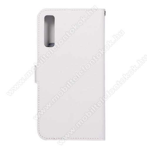 CRAZY notesz / mappa tok - FEHÉR - oldalra nyíló, rejtett mágneses záródás, belső zseb, asztali tartó funkció, szilikon belső - SAMSUNG SM-A750F Galaxy A7 (2018)