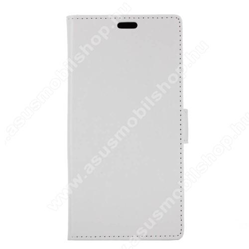 CRAZY notesz / mappa tok - FEHÉR - oldalra nyíló, rejtett mágneses záródás, belső zseb, asztali tartó funkció, szilikon belső - Asus Zenfone 4 Max (ZC554KL)