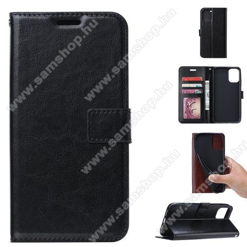 CRAZY notesz / mappa tok - FEKETE - oldalra nyíló, rejtett mágneses záródás, belső zseb, asztali tartó funkció, szilikon belső - SAMSUNG Galaxy A41 (SM-A415F)
