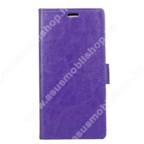 CRAZY notesz / mappa tok - LILA - oldalra nyíló, rejtett mágneses záródás, belső zseb, asztali tartó funkció, szilikon belső - Asus Zenfone 4 Max (ZC554KL)