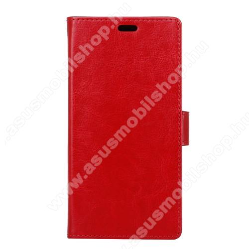 CRAZY notesz / mappa tok - PIROS - oldalra nyíló, rejtett mágneses záródás, belső zseb, asztali tartó funkció, szilikon belső - Asus Zenfone 4 Max (ZC554KL)