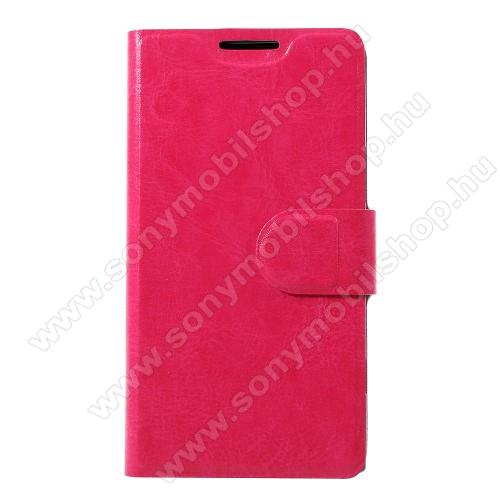CRAZY notesz / mappa tok - RÓZSASZÍN - oldalra nyíló, rejtett mágneses záródás, belső zseb, asztali tartó funkció, szilikon belső, Fedlapba épített acéllemezzel, ERŐS VÉDELEM! - Sony Xperia XZ1 Compact