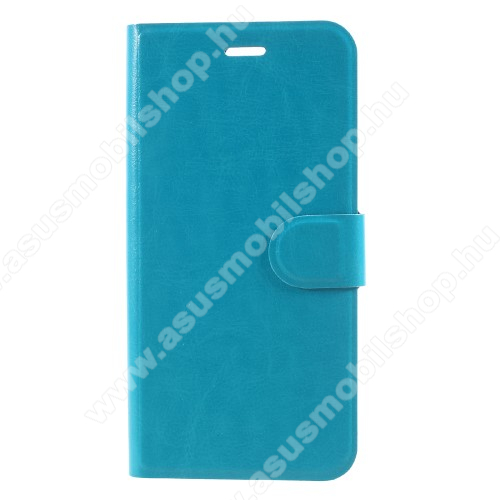 CRAZY notesz / mappa tok - VILÁGOSKÉK - oldalra nyíló, rejtett mágneses záródás, belső zseb, asztali tartó funkció, szilikon belső, Fedlapba épített acéllemezzel, ERŐS VÉDELEM! - ASUS Zenfone 4 Pro (ZS551KL)