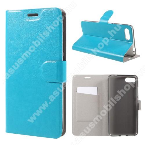 CRAZY notesz / mappa tok - VILÁGOSKÉK - oldalra nyíló, rejtett mágneses záródás, belső zseb, asztali tartó funkció, szilikon belső, Fedlapba épített acéllemezzel, ERŐS VÉDELEM! - ASUS Zenfone 4 Max (ZC554KL) / ASUS Zenfone 4 Max Plus (ZC554KL)