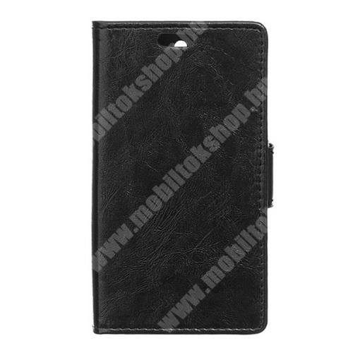CRAZY notesz tok / flip tok - asztali tartó funkciós, oldalra nyíló, rejtett mágneses záródás, bankkártya tartó zsebekkel, szilikon belsős - FEKETE - VODAFONE Smart first 6