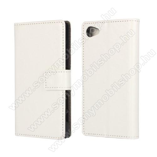 CRAZY notesz tok / flip tok - FEHÉR - asztali tartó funkciós, oldalra nyíló, rejtett mágneses záródás, bankkártyatartó zseb - SONY Xperia Z5 Compact