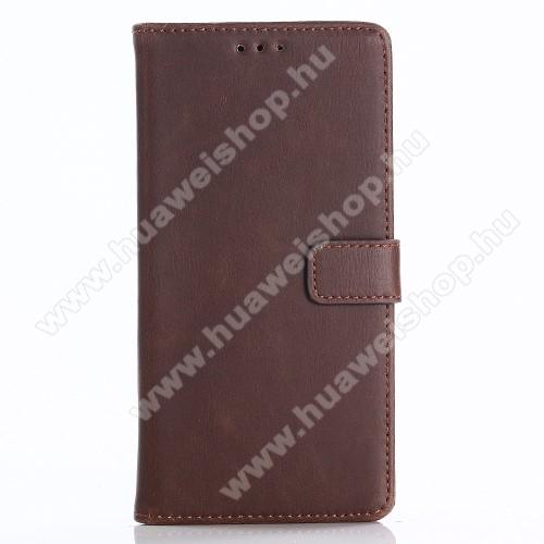 CRAZY notesz tok / flip tok - SÖTÉTBARNA - asztali tartó funkciós, oldalra nyíló, rejtett mágneses záródás, bankkártya tartó zsebekkel, szilikon belső - HUAWEI P Smart / HUAWEI Enjoy 7S