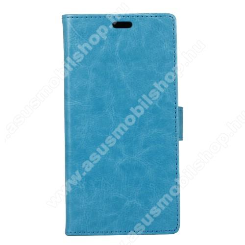 CRAZY notesz tok / flip tok - VILÁGOSKÉK - asztali tartó funkciós, oldalra nyíló, rejtett mágneses záródás, szilikon belső, bankkártyatartó - ASUS Zenfone 4 Selfie Pro (ZD552KL)