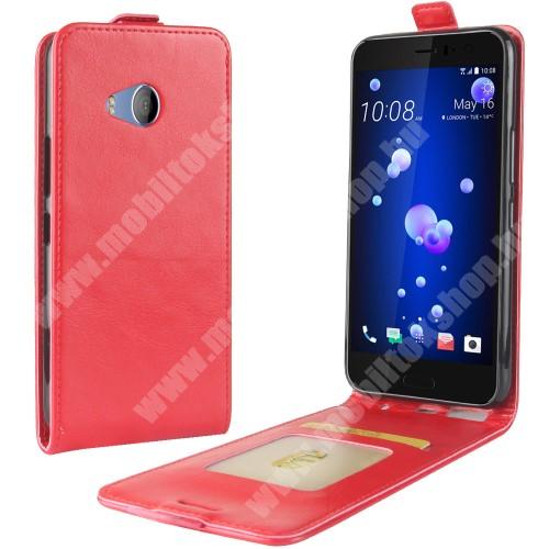 CRAZY SLIM FLIP tok - lefelé nyíló, rejtett mágneses záródás, bankkártya tartó zseb, szilikon belső - PIROS - HTC U11 Life