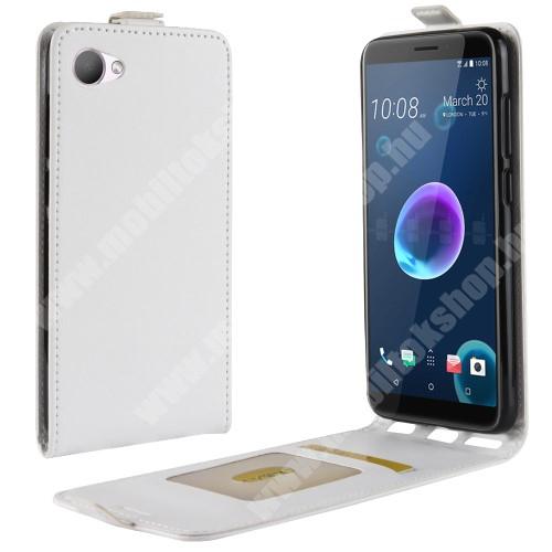 CRAZY SLIM FLIP tok - lefelé nyíló, rejtett mágneses záródás, szilikon belső, bankkártya tartó, előlapi hangszóró nyílás - FEHÉR - HTC Desire 12