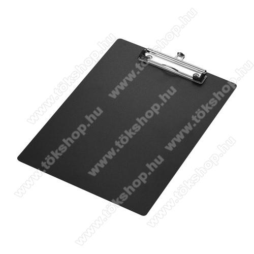 Csíptetős laptartó / íróalátét - behúzható függőhurokkal, falra akasztható, A4-es méretű - FEKETE