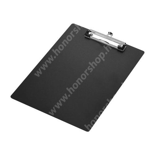 HUAWEI Honor V40 5G Csíptetős laptartó / íróalátét - behúzható függőhurokkal, falra akasztható, A4-es méretű - FEKETE