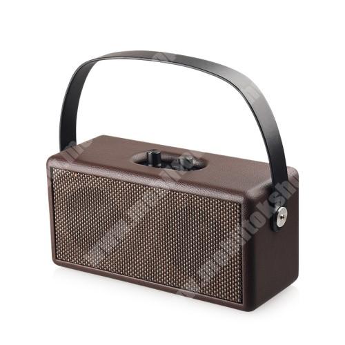HomTom HT7 D30 Retro bluetooth hangszóró - beépített mikrofon, 16W, 75dB, beépített 4500mAh akkumulátor, 3.5mm AUX, USB, kihangosító funkció, memóriakártya olvasás - BARNA - 248 x 100 x 118mm