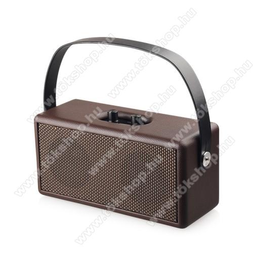 D30 Retro bluetooth hangszóró - beépített mikrofon, 16W, 75dB, beépített 4500mAh akkumulátor, 3.5mm AUX, USB, kihangosító funkció, memóriakártya olvasás - BARNA - 248 x 100 x 118mm