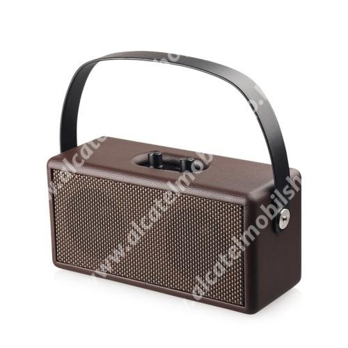 ALCATEL OT 800 Tribe D30 Retro bluetooth hangszóró - beépített mikrofon, 16W, 75dB, beépített 4500mAh akkumulátor, 3.5mm AUX, USB, kihangosító funkció, memóriakártya olvasás - BARNA - 248 x 100 x 118mm