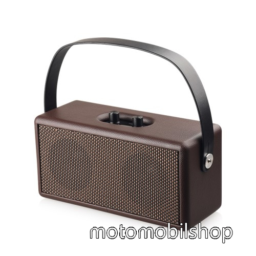 Motorola Moto G8 Play D30 Retro bluetooth hangszóró - beépített mikrofon, 16W, 75dB, beépített 4500mAh akkumulátor, 3.5mm AUX, USB, kihangosító funkció, memóriakártya olvasás - BARNA - 248 x 100 x 118mm