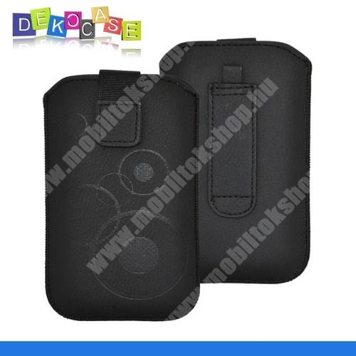 DEKOCASE tok álló (körmintás, kihúzható tépőzár, övre fűzhető, Galaxy Note/2/3 méret) FEKETE