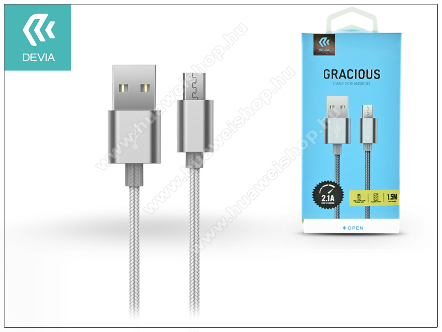 HUAWEI Honor Play 8ADEVIA adatátvitel adatkábel és USB töltő - USB / Micro USB, 1,5m, 2.1A - SZÜRKE
