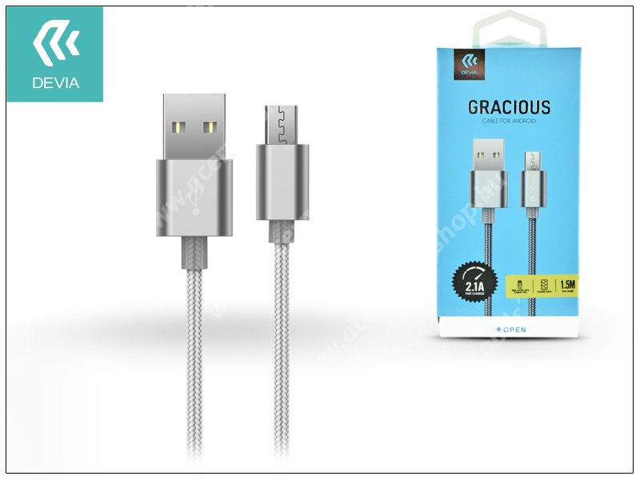 ACER Liquid Gallant Duo DEVIA adatátvitel adatkábel és USB töltő - USB / Micro USB, 1,5m, 2.1A - SZÜRKE