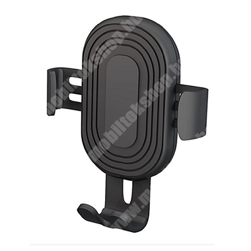 ZTE Blade Qlux 4G DEVIA Gravity univerzális autós / gépkocsi tartó - szellőzőrácsra rögzíthető - QI wireless vezetéknélküli funkció, 10W (max!), fogadóegység nélkül! - FEKETE - GYÁRI