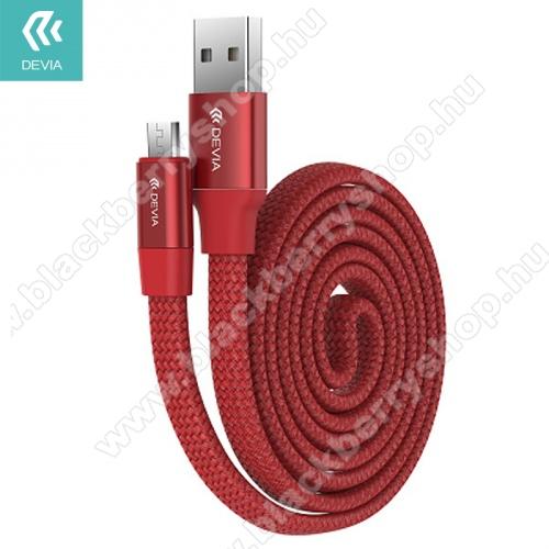 BLACKBERRY DTEK50DEVIA RING Y1 adatátvitel kábel és töltő (microUSB, 0.8m, visszahúzó rugó, gyorstöltés támogatás, cipőfűző minta) PIROS - 998608 / B0607 - GYÁRI