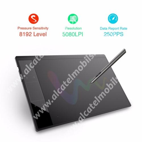 """Alcatel OT-810D Digitalizáló rajztábla - aktív érzékelési felület 10x6"""", 250pps, 10ms válaszarány, Type-C port, 8192 nyomásérzékenység, 4 programozható érintőgomb, érintőpárna, gesztusvezérlés, 332mm x 212mm  x 8mm - FEKETE"""