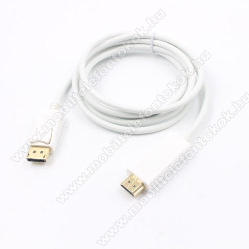 DisplayPort DP - HDMI apa adapter - 180cm hosszú, 1920x1200, 1080p (Full HD) - FEHÉR