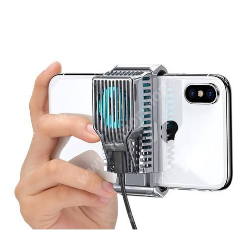"""HUAWEI Honor 9i (2018)DIVI UNIVERZÁLIS telefonhűtő - világít (kék led), 43g, 30 dBA, 4-7""""-os készülékekkel kompatibilis, 78.5 x 35.2 x 37.2mm - EZÜST"""