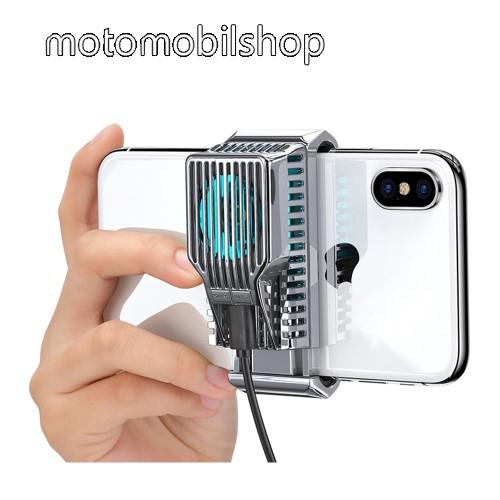DIVI UNIVERZÁLIS telefonhűtő - világít (kék led), 43g, 30 dBA, 65-80mm szélességű készülékekhez haszálható - EZÜST