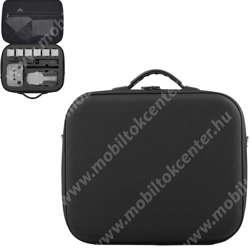 DJI Mavic Air 2-höz tartó / hordozó táska - ütődésálló, cipzáros hálós zseb, cseppálló, hordozó fül, állítható vállpánt, 365 x 310 x 115mm - ERŐS VÉDELEM! - FEKETE