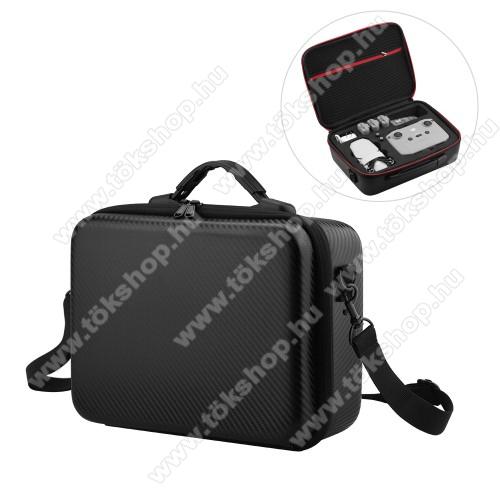 DJI Mavic Mini 2-höz tartó / hordozó táska - ütődésálló, cipzáros hálós zseb, cseppálló, vállpánt, 290 x 210 x 110mm - ERŐS VÉDELEM! - FEKETE / PIROS