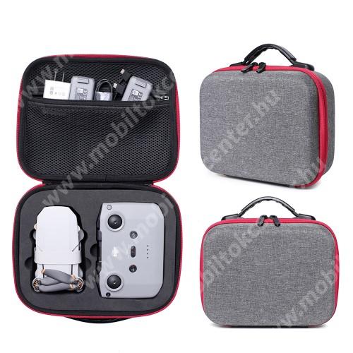 DJI Mavic Mini 2-höz tartó / hordozó táska - EVA, ütődésálló, cipzáros hálós zseb, hordozó fül, 255 x 200 x 95mm - ERŐS VÉDELEM! - SZÜRKE / PIROS