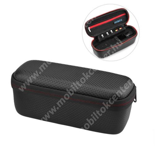 DJI OSMO Pocket 2 tartó / hordozó táska - PU bőr, ütődésálló, cseppálló, cipzáros, hálós zseb, puha bélés, karabiner, 205 x 75 x 85mm - ERŐS VÉDELEM! - FEKETE