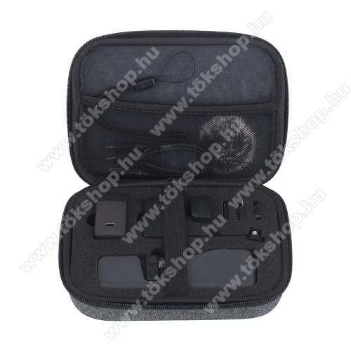 DJI OSMO Pocket 2 tartó / hordozó táska - ütődésálló, cipzáros, hálós zseb, 200 x 150 x 55 mm - ERŐS VÉDELEM! - SZÜRKE