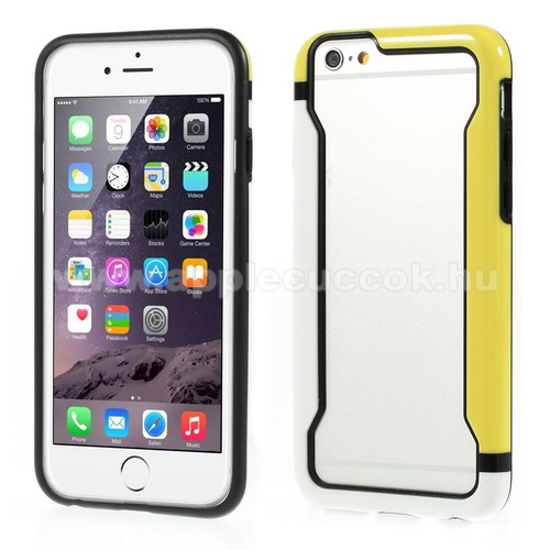 DUO szilikon v�d? keret - BUMPER - FEH�R / S�RGA - APPLE iPhone 6