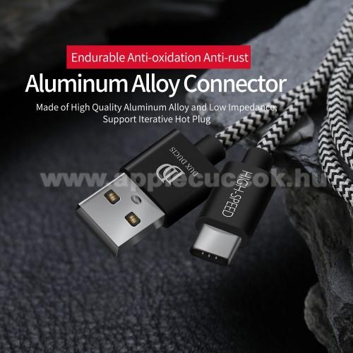 DUX DUCIS adat�tviteli k�bel / USB t�lt? - USB 3.1 Type C, 25cm, 2,1A t�lt?�ram �tvitelre k�pes! - FEKETE