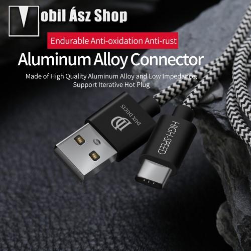 DUX DUCIS adatátviteli kábel / USB töltő - USB 3.1 Type C, 1,5m, 2,4A töltőáram átvitelre képes! - FEKETE