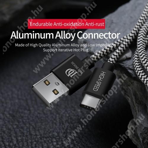 HUAWEI Honor 9 DUX DUCIS adatátviteli kábel / USB töltő - USB 3.1 Type C, 1,5m, 2,1A töltőáram átvitelre képes! - FEKETE