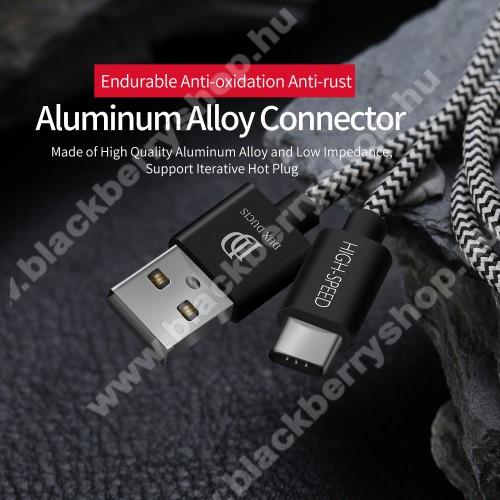 BLACKBERRY MotionDUX DUCIS adatátviteli kábel / USB töltő - USB 3.1 Type C, 1,5m, 2,4A töltőáram átvitelre képes! - FEKETE
