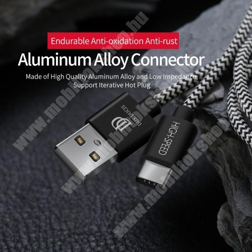 DUX DUCIS adatátviteli kábel / USB töltő - USB 3.1 Type C, 1m, 2,1A töltőáram átvitelre képes! - FEKETE