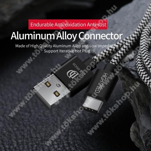 DUX DUCIS adatátviteli kábel / USB töltő - USB 3.1 Type C, 25cm, 2,1A töltőáram átvitelre képes! - FEKETE