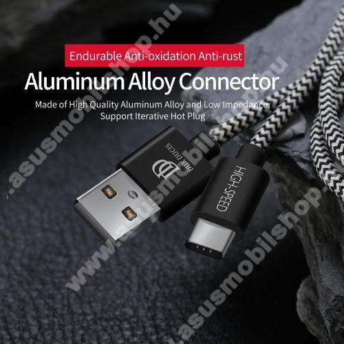 ASUS Zenfone V (V520KL)DUX DUCIS adatátviteli kábel / USB töltő - USB 3.1 Type C, 25cm, 2,1A töltőáram átvitelre képes! - FEKETE